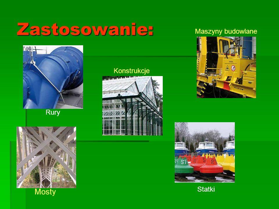 Zastosowanie: Konstrukcje Maszyny budowlane Mosty Rury Statki