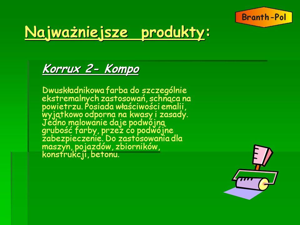 Najważniejsze produkty: Najważniejsze produkty: Korrux 2- Kompo Dwuskładnikowa farba do szczególnie ekstremalnych zastosowań, schnąca na powietrzu. Po