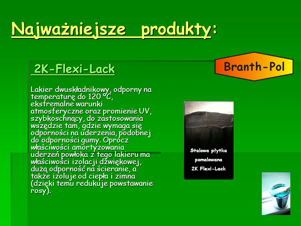 Najważniejsze produkty: 2K-Flexi-Lack 2K-Flexi-Lack Lakier dwuskładnikowy, odporny na temperaturę do 120 ºC, ekstremalne warunki atmosferyczne oraz pr
