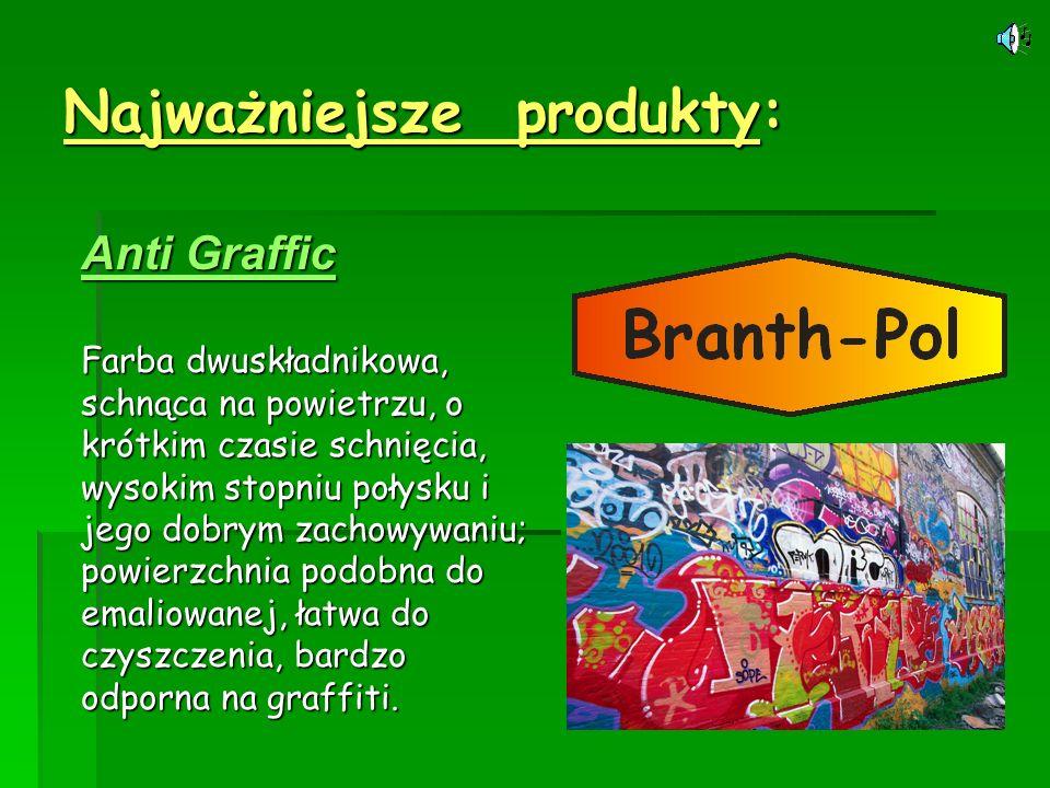 Najważniejsze produkty: Anti Graffic Anti Graffic Farba dwuskładnikowa, schnąca na powietrzu, o krótkim czasie schnięcia, wysokim stopniu połysku i je