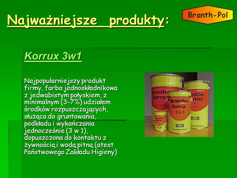 Najważniejsze produkty: KKKK oooo rrrr rrrr uuuu xxxx 3 3 3 3 wwww 1111Najpopularniejszy produkt firmy, farba jednoskładnikowa z jedwabistym połyskiem