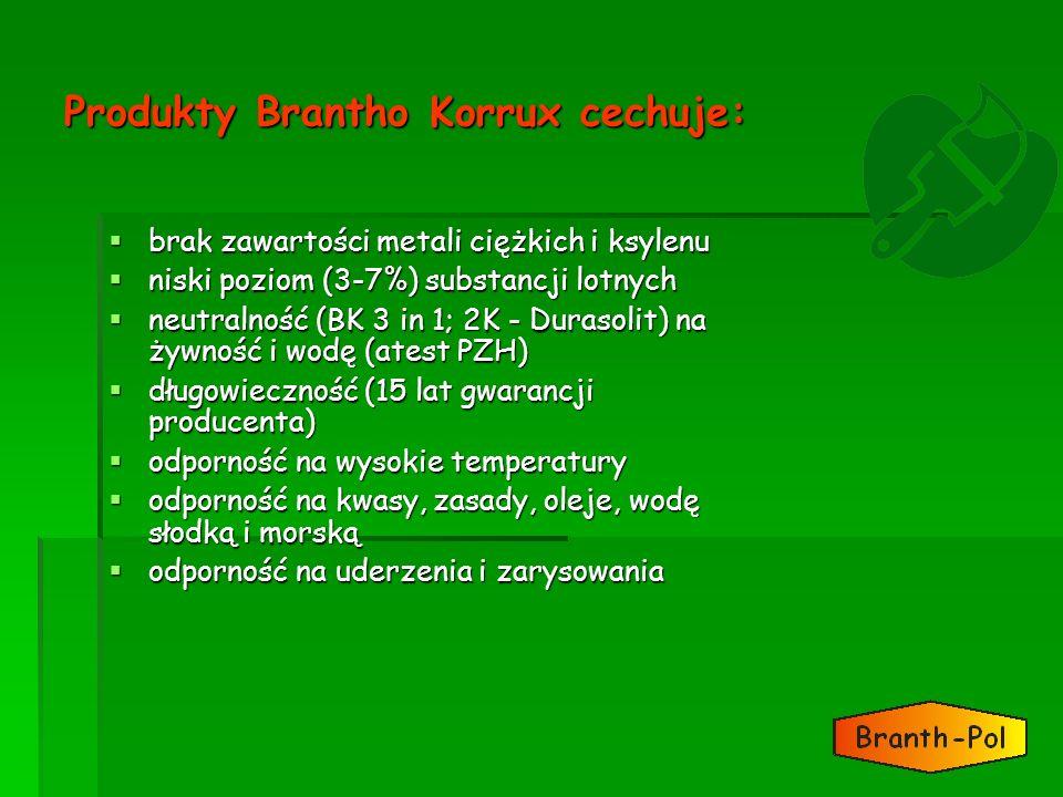Produkty Brantho Korrux cechuje: brak zawartości metali ciężkich i ksylenu brak zawartości metali ciężkich i ksylenu niski poziom (3-7%) substancji lo