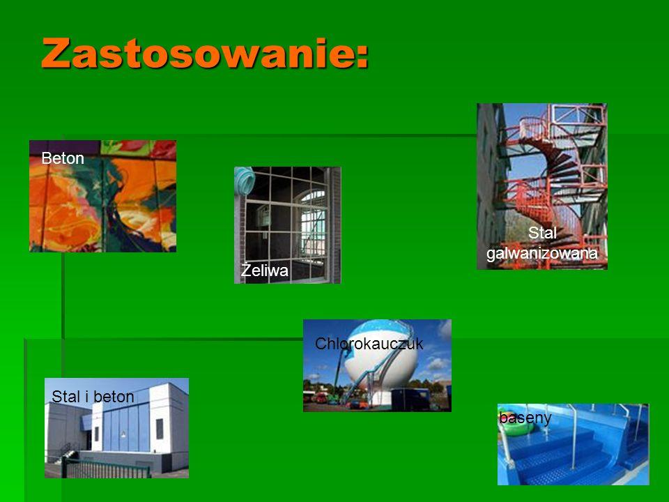 Zastosowanie: Beton Żeliwa Stal galwanizowana Chlorokauczuk baseny Stal i beton