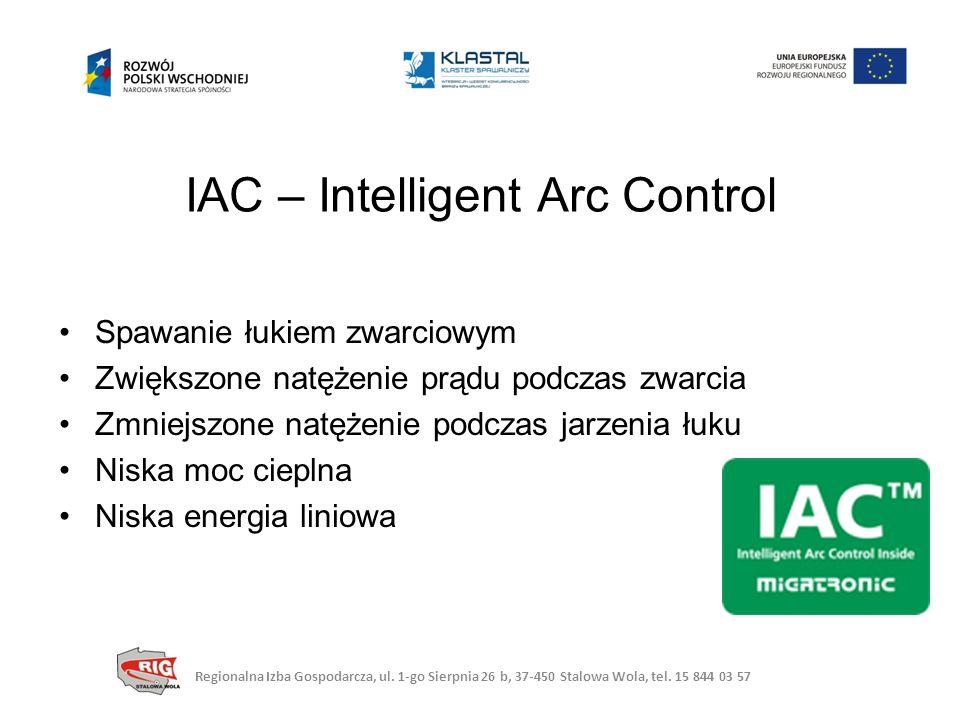 IAC – Intelligent Arc Control Spawanie łukiem zwarciowym Zwiększone natężenie prądu podczas zwarcia Zmniejszone natężenie podczas jarzenia łuku Niska moc cieplna Niska energia liniowa Regionalna Izba Gospodarcza, ul.