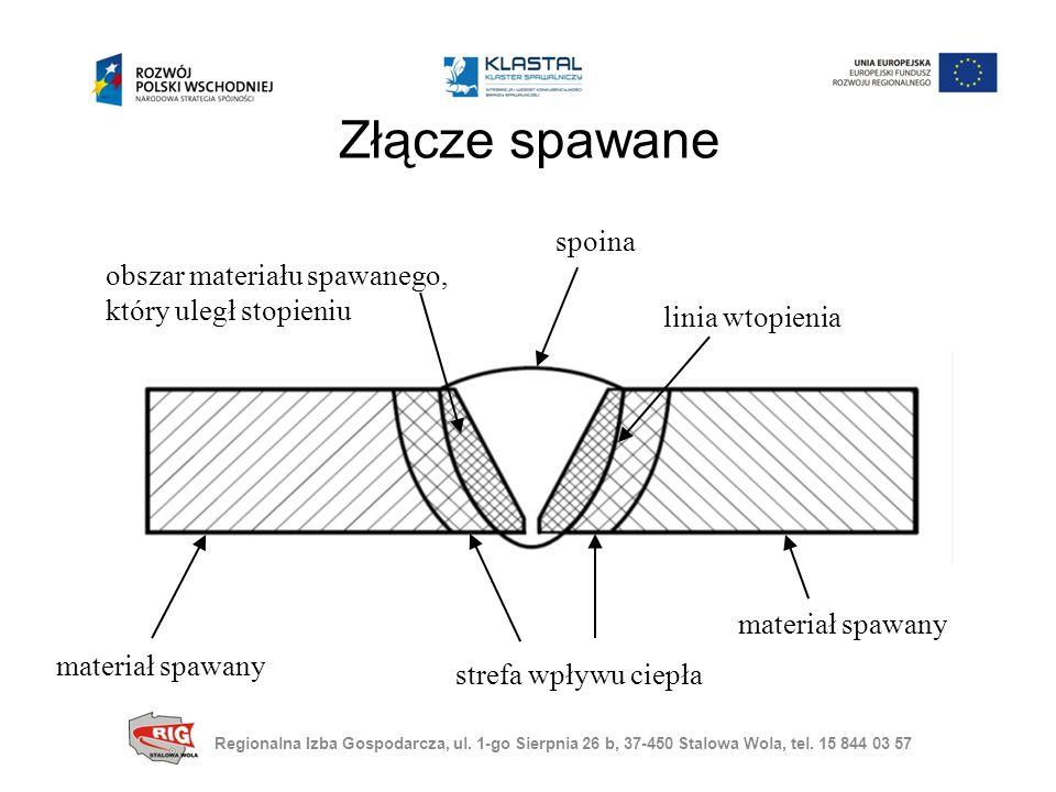 Złącze spawane linia wtopienia materiał spawany strefa wpływu ciepła obszar materiału spawanego, który uległ stopieniu spoina materiał spawany Regionalna Izba Gospodarcza, ul.