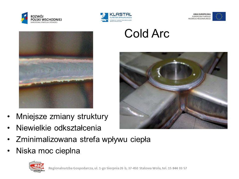 Mniejsze zmiany struktury Niewielkie odkształcenia Zminimalizowana strefa wpływu ciepła Niska moc cieplna Cold Arc Regionalna Izba Gospodarcza, ul.