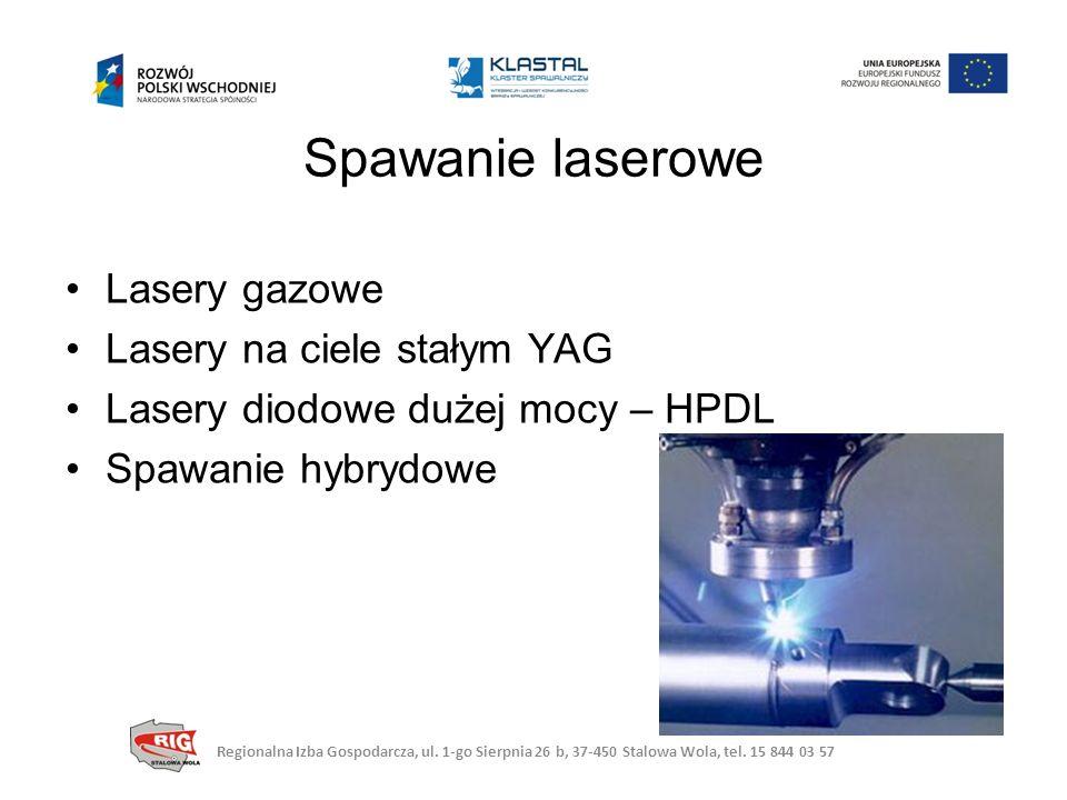 Lasery gazowe Lasery na ciele stałym YAG Lasery diodowe dużej mocy – HPDL Spawanie hybrydowe Spawanie laserowe Regionalna Izba Gospodarcza, ul.