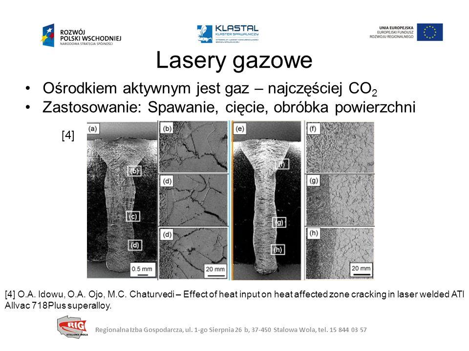 Ośrodkiem aktywnym jest gaz – najczęściej CO 2 Zastosowanie: Spawanie, cięcie, obróbka powierzchni Lasery gazowe [4] [4] O.A.