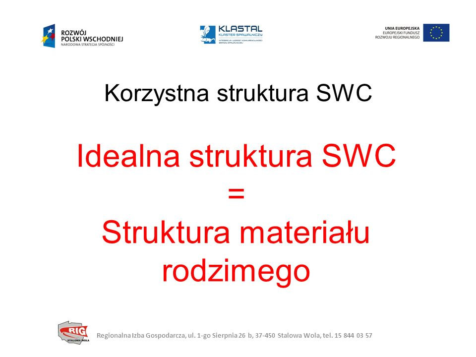 Korzystna struktura SWC Idealna struktura SWC = Struktura materiału rodzimego Regionalna Izba Gospodarcza, ul.