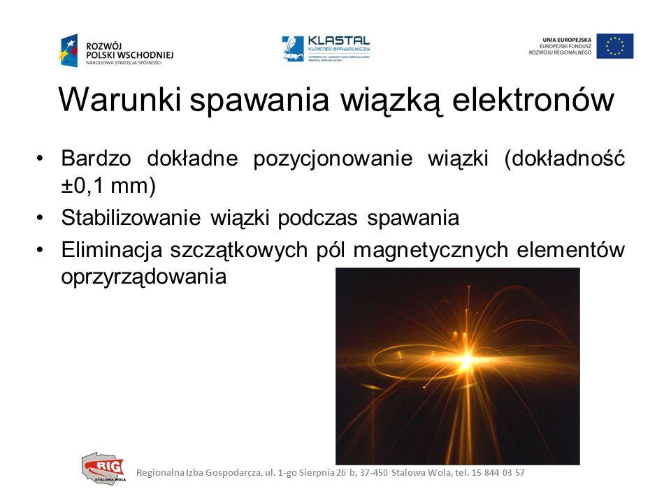 Bardzo dokładne pozycjonowanie wiązki (dokładność ±0,1 mm) Stabilizowanie wiązki podczas spawania Eliminacja szczątkowych pól magnetycznych elementów oprzyrządowania Warunki spawania wiązką elektronów Regionalna Izba Gospodarcza, ul.