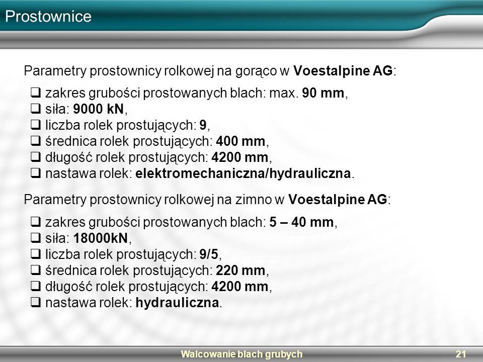 Walcowanie blach grubych21 Prostownice Parametry prostownicy rolkowej na gorąco w Voestalpine AG: Parametry prostownicy rolkowej na zimno w Voestalpin