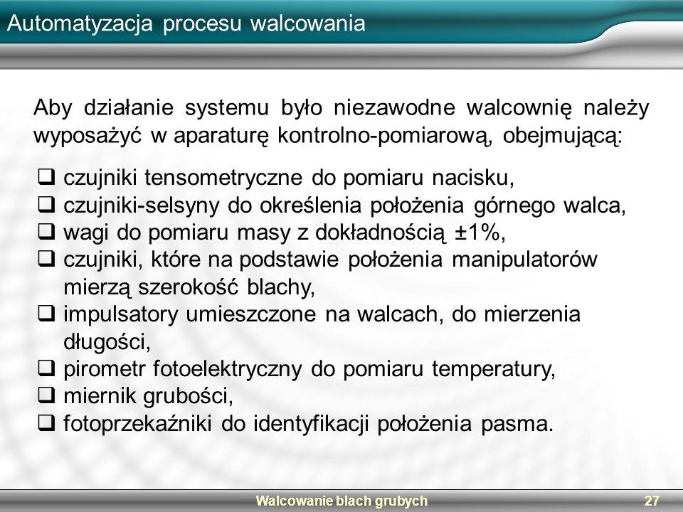 Walcowanie blach grubych27 Automatyzacja procesu walcowania Aby działanie systemu było niezawodne walcownię należy wyposażyć w aparaturę kontrolno-pom