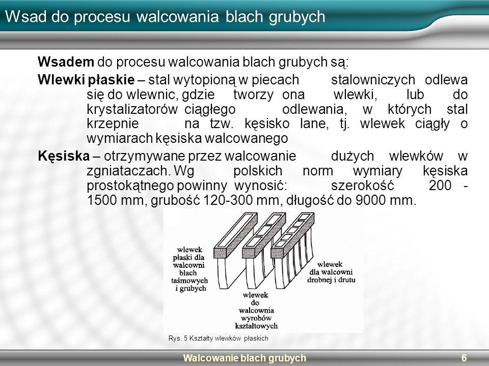 Walcowanie blach grubych6 Wsad do procesu walcowania blach grubych Wsadem do procesu walcowania blach grubych są: Wlewki płaskie – stal wytopioną w pi