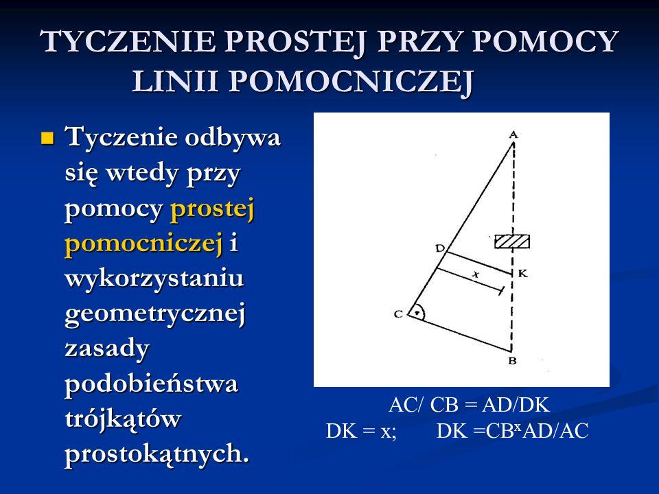 TYCZENIE PROSTEJ PRZY POMOCY LINII POMOCNICZEJ Tyczenie odbywa się wtedy przy pomocy prostej pomocniczej i wykorzystaniu geometrycznej zasady podobień