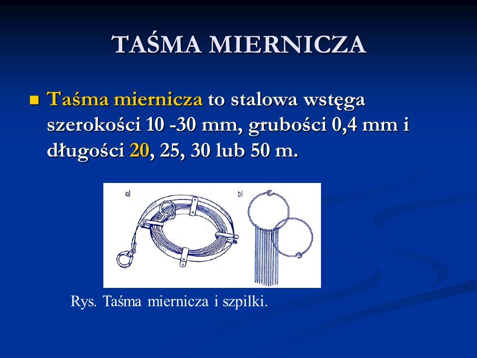 Taśma miernicza to stalowa wstęga szerokości 10 -30 mm, grubości 0,4 mm i długości 20, 25, 30 lub 50 m. Taśma miernicza to stalowa wstęga szerokości 1