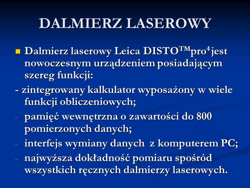 Dalmierz laserowy Leica DISTO TM pro 4 jest nowoczesnym urządzeniem posiadającym szereg funkcji: Dalmierz laserowy Leica DISTO TM pro 4 jest nowoczesn
