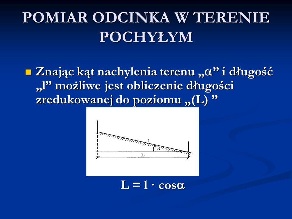 POMIAR ODCINKA W TERENIE POCHYŁYM Znając kąt nachylenia terenu i długość l możliwe jest obliczenie długości zredukowanej do poziomu (L) Znając kąt nac