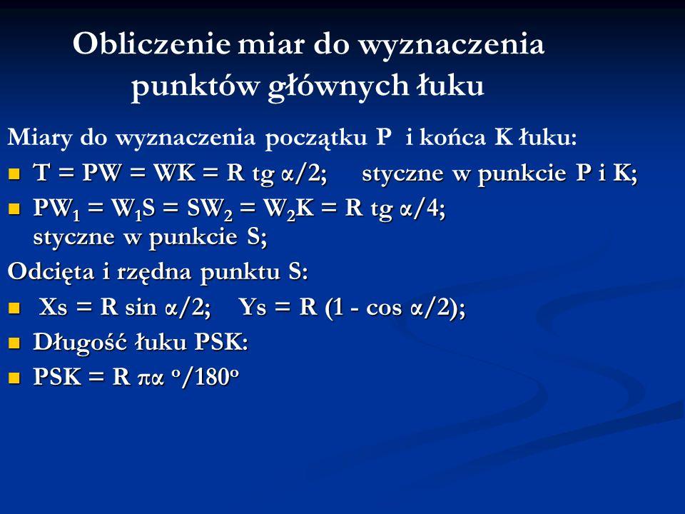 Obliczenie miar do wyznaczenia punktów głównych łuku Miary do wyznaczenia początku P i końca K łuku: T = PW = WK = R tg α/2; styczne w punkcie P i K;