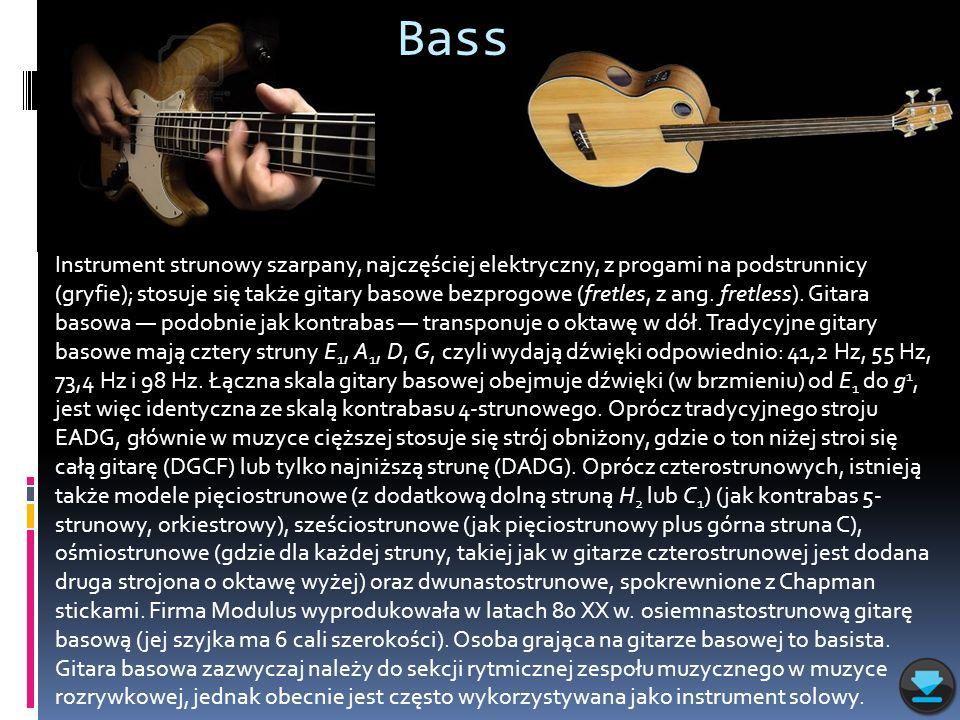 Bass Instrument strunowy szarpany, najczęściej elektryczny, z progami na podstrunnicy (gryfie); stosuje się także gitary basowe bezprogowe (fretles, z