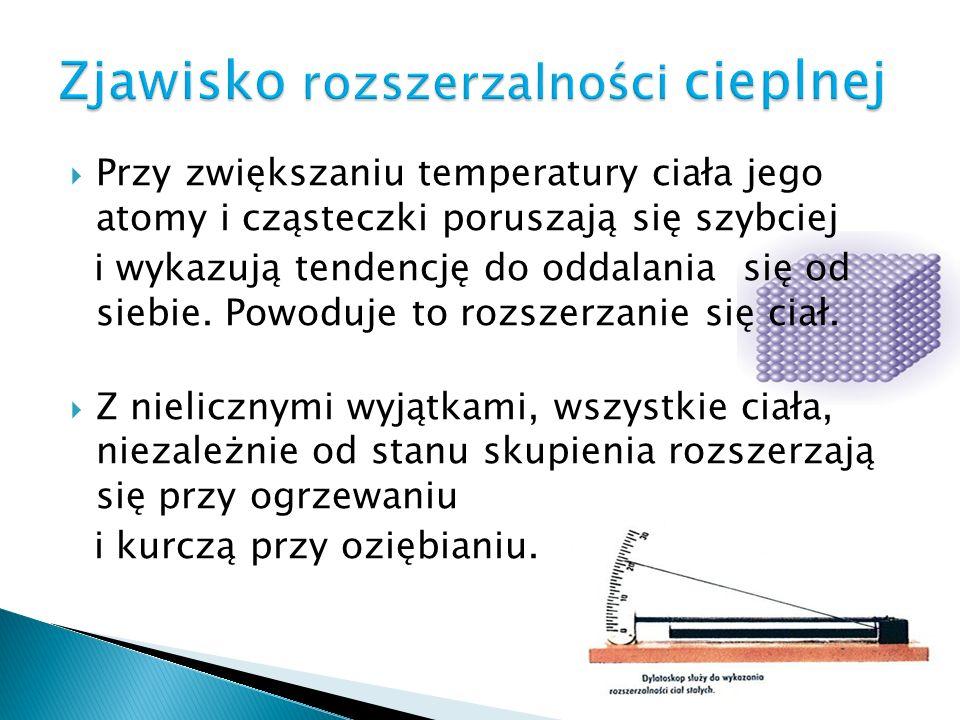 Przed ogrzaniem prętaPo ogrzaniu pręta Zjawisko wzrostu długości ciała pod wpływem wzrostu temperatury nazywamy liniową rozszerzalnością temperaturową ciała stałego.