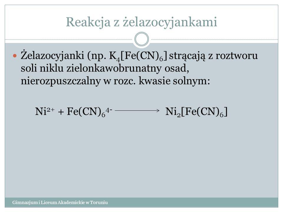 Reakcja z żelazocyjankami Gimnazjum i Liceum Akademickie w Toruniu Żelazocyjanki (np. K 4 [Fe(CN) 6 ] strącają z roztworu soli niklu zielonkawobrunatn