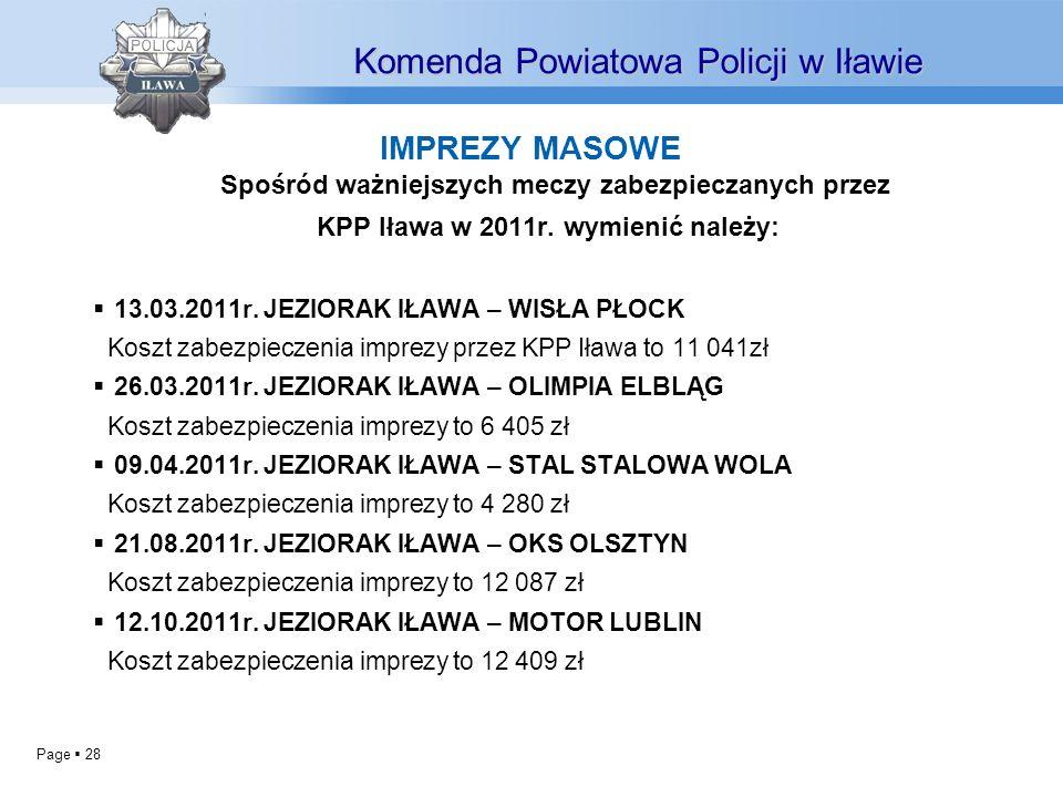 Page 28 IMPREZY MASOWE Spośród ważniejszych meczy zabezpieczanych przez KPP Iława w 2011r.