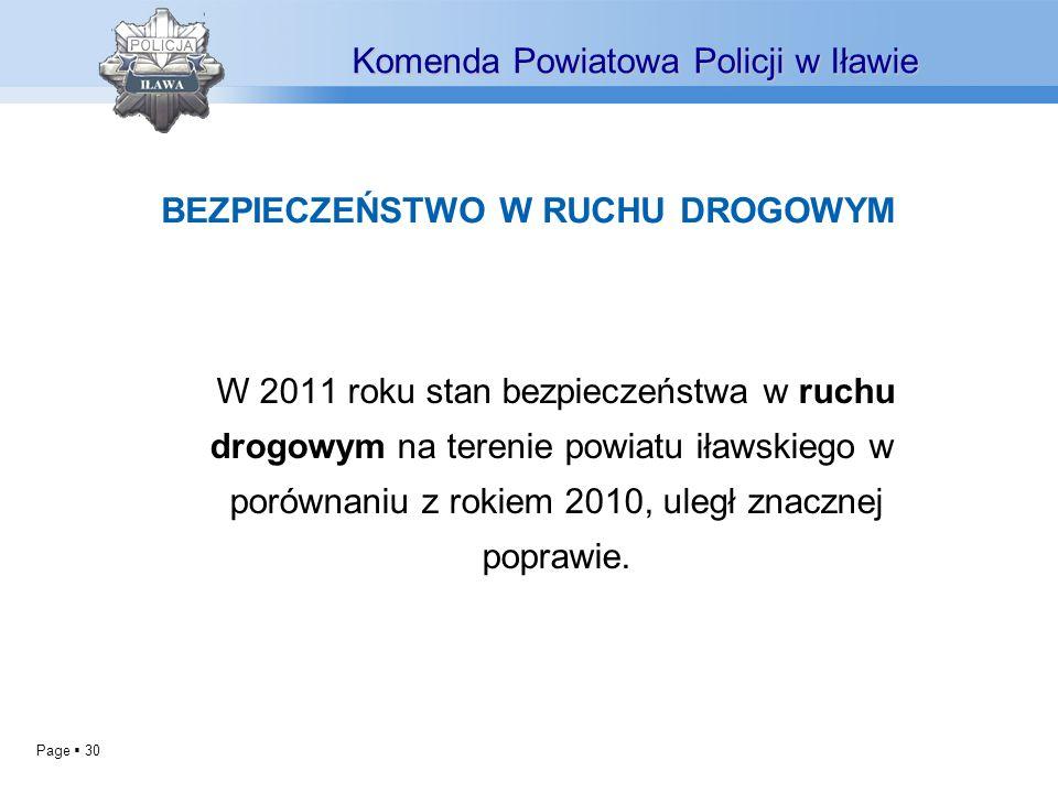 Page 30 W 2011 roku stan bezpieczeństwa w ruchu drogowym na terenie powiatu iławskiego w porównaniu z rokiem 2010, uległ znacznej poprawie. Komenda Po