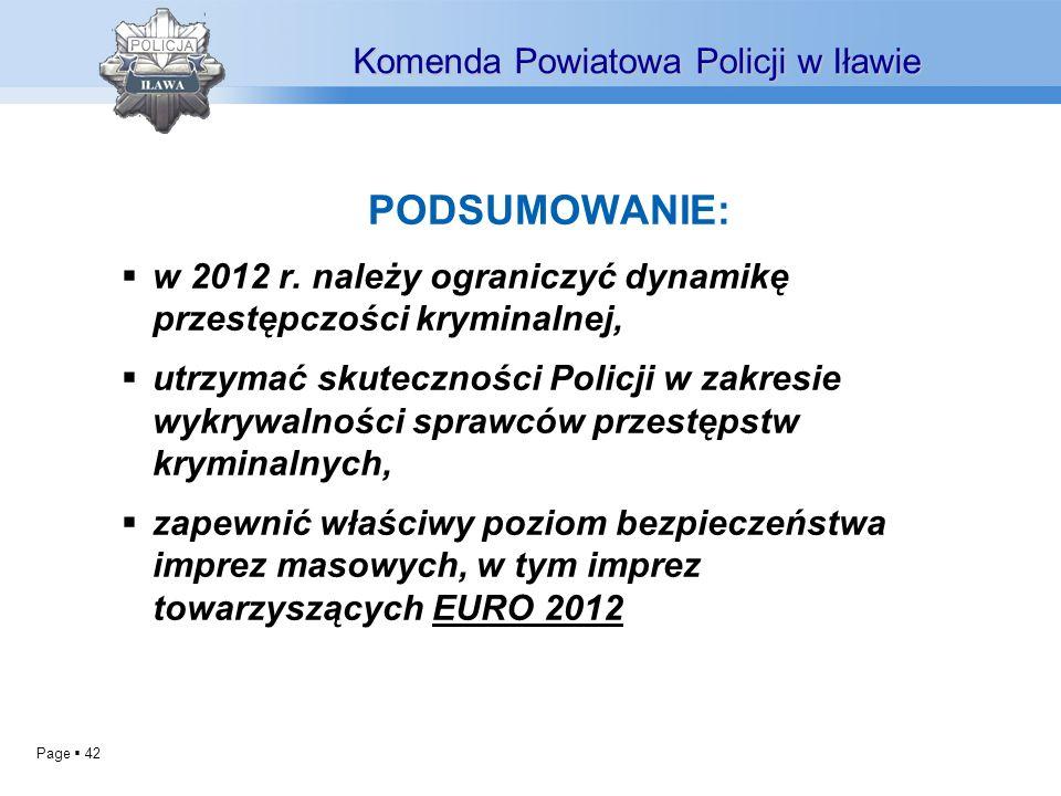 Page 42 PODSUMOWANIE: w 2012 r. należy ograniczyć dynamikę przestępczości kryminalnej, utrzymać skuteczności Policji w zakresie wykrywalności sprawców