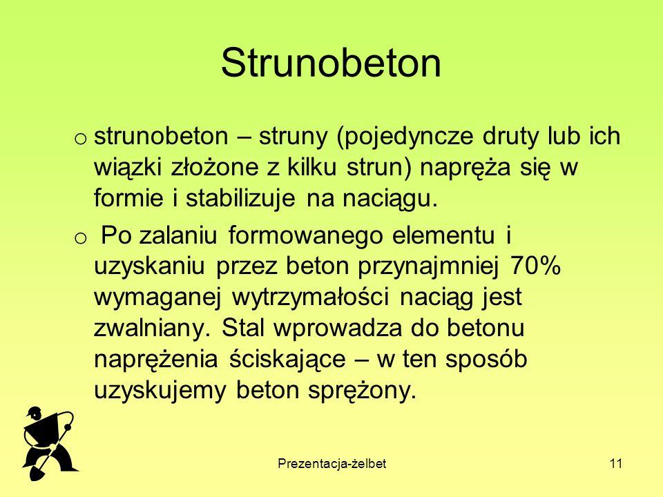 Prezentacja-żelbet11 Strunobeton o strunobeton – struny (pojedyncze druty lub ich wiązki złożone z kilku strun) napręża się w formie i stabilizuje na