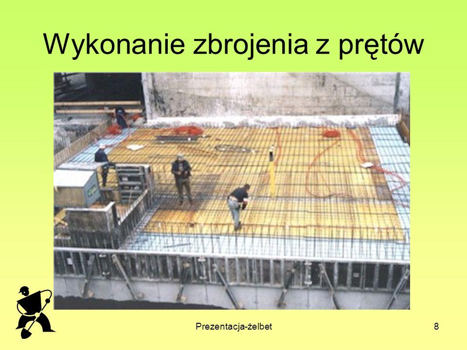 Prezentacja-żelbet9 Beton sprężony beton sprężony – zbrojenie wykonuje się z stali o wysokiej wytrzymałości na rozciąganie (stale wysokogatunkowe).