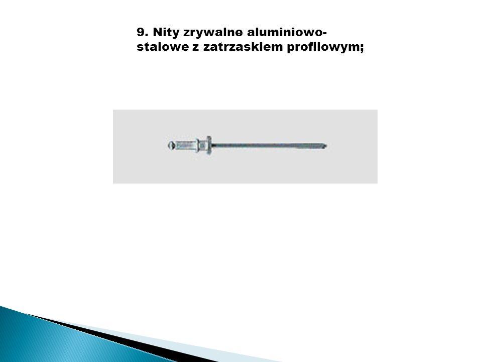 9. Nity zrywalne aluminiowo- stalowe z zatrzaskiem profilowym;