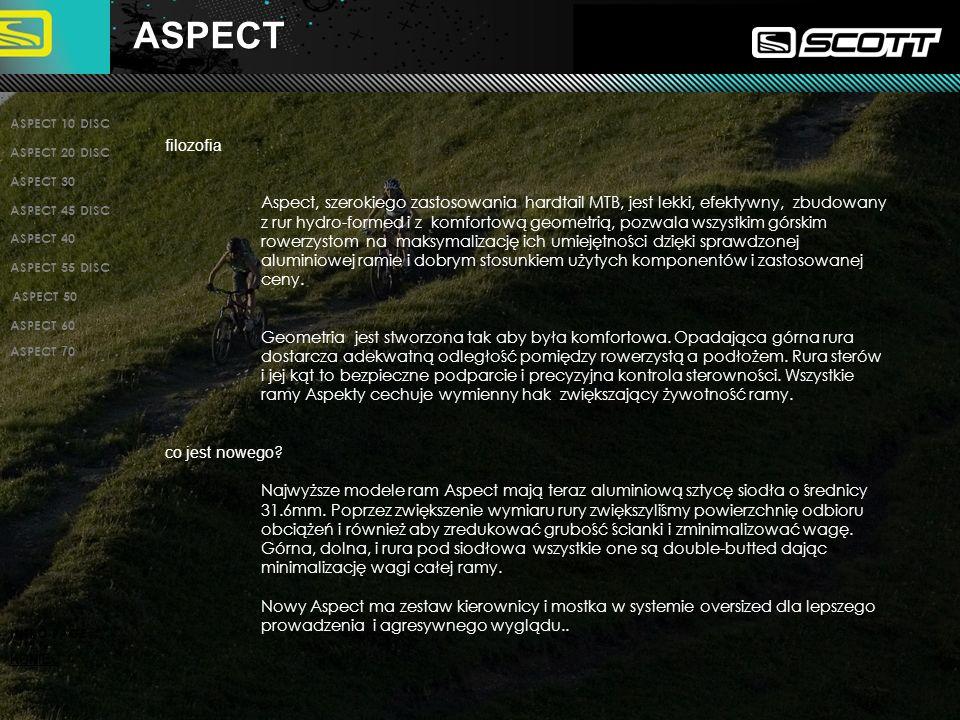 ASPECT 10 DISC ASPECT 20 DISC ASPECT 30 ASPECT 45 DISC ASPECT 40 ASPECT 55 DISC INTRO PAGE KONIEC ASPECT 50 ASPECT 60 filozofia Aspect, szerokiego zastosowania hardtail MTB, jest lekki, efektywny, zbudowany z rur hydro-formed i z komfortową geometrią, pozwala wszystkim górskim rowerzystom na maksymalizację ich umiejętności dzięki sprawdzonej aluminiowej ramie i dobrym stosunkiem użytych komponentów i zastosowanej ceny.