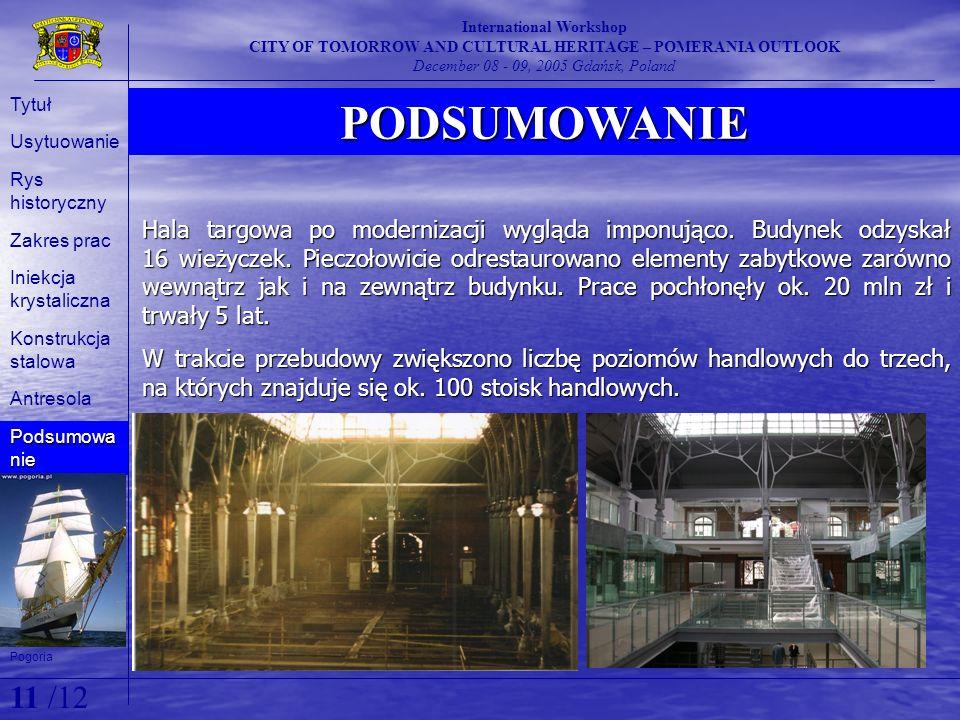 11 /12 PODSUMOWANIE Pogoria International Workshop CITY OF TOMORROW AND CULTURAL HERITAGE – POMERANIA OUTLOOK December 08 - 09, 2005 Gdańsk, Poland Ty