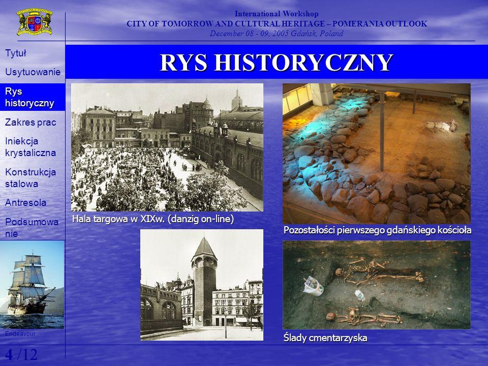 ZAKRES PRAC International Workshop CITY OF TOMORROW AND CULTURAL HERITAGE – POMERANIA OUTLOOK December 08 - 09, 2005 Gdańsk, Poland Na skutek zniszczeń wojennych i intensywnej eksploatacji w okresie powojennym w roku 2000 rozpoczęto remont i modernizację obiektu.