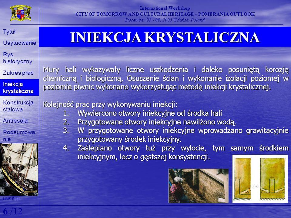 INIEKCJA KRYSTALICZNA International Workshop CITY OF TOMORROW AND CULTURAL HERITAGE – POMERANIA OUTLOOK December 08 - 09, 2005 Gdańsk, Poland Mury hal