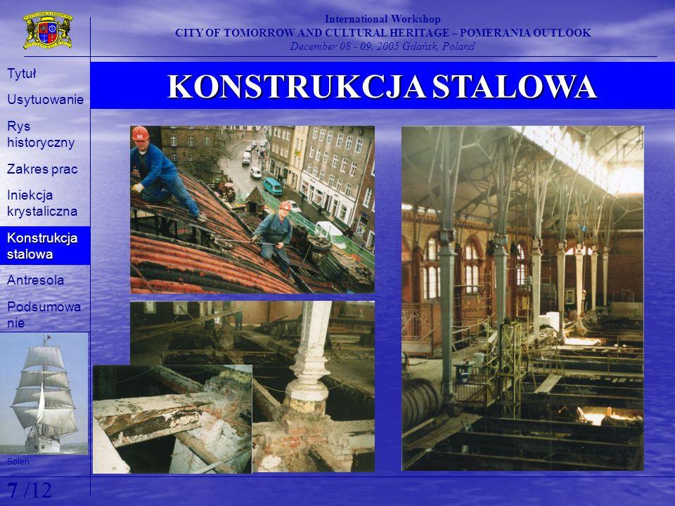 KONSTRUKCJA STALOWA International Workshop CITY OF TOMORROW AND CULTURAL HERITAGE – POMERANIA OUTLOOK December 08 - 09, 2005 Gdańsk, Poland Solen Tytu