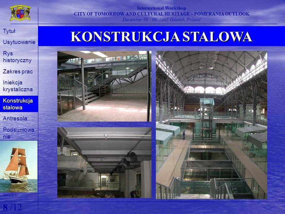 KONSTRUKCJA STALOWA International Workshop CITY OF TOMORROW AND CULTURAL HERITAGE – POMERANIA OUTLOOK December 08 - 09, 2005 Gdańsk, Poland Głowacki T