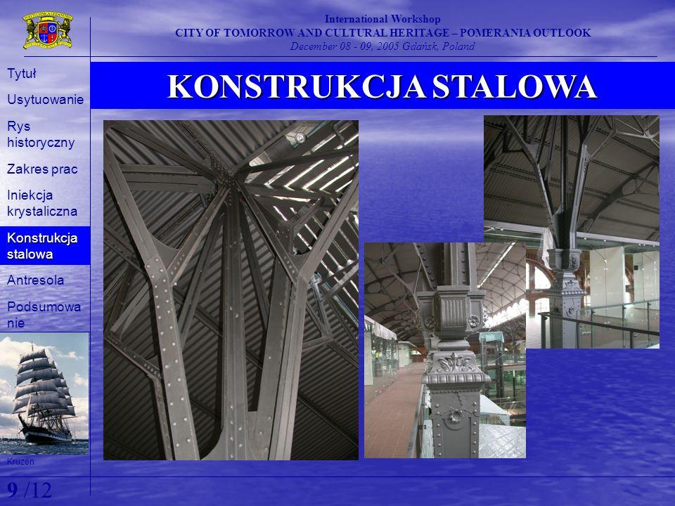 KONSTRUKCJA STALOWA International Workshop CITY OF TOMORROW AND CULTURAL HERITAGE – POMERANIA OUTLOOK December 08 - 09, 2005 Gdańsk, Poland Kruzen Tyt