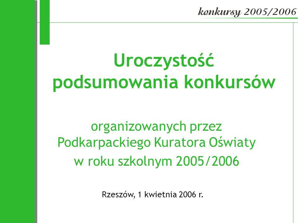 organizowanych przez Podkarpackiego Kuratora Oświaty w roku szkolnym 2005/2006 Rzeszów, 1 kwietnia 2006 r. Uroczystość podsumowania konkursów
