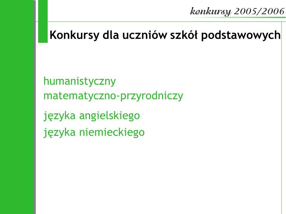 Konkursy dla uczniów gimnazjów języka polskiego języka angielskiego języka niemieckiego historyczny matematyczny fizyczny chemiczny biologiczny geograficzny informatyczny