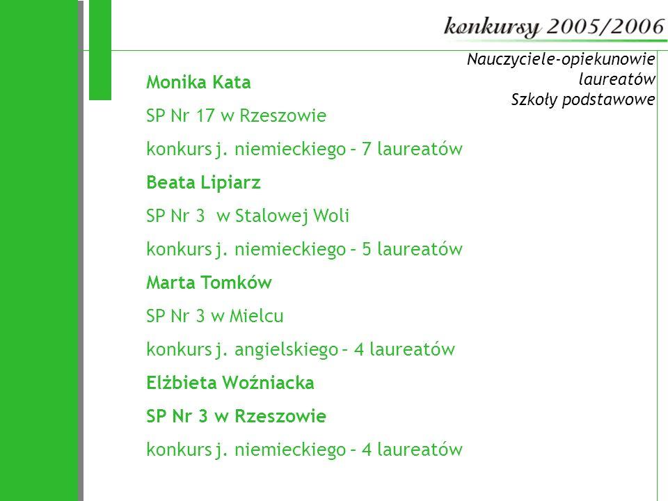 72 Monika Kata SP Nr 17 w Rzeszowie konkurs j. niemieckiego – 7 laureatów Beata Lipiarz SP Nr 3 w Stalowej Woli konkurs j. niemieckiego – 5 laureatów