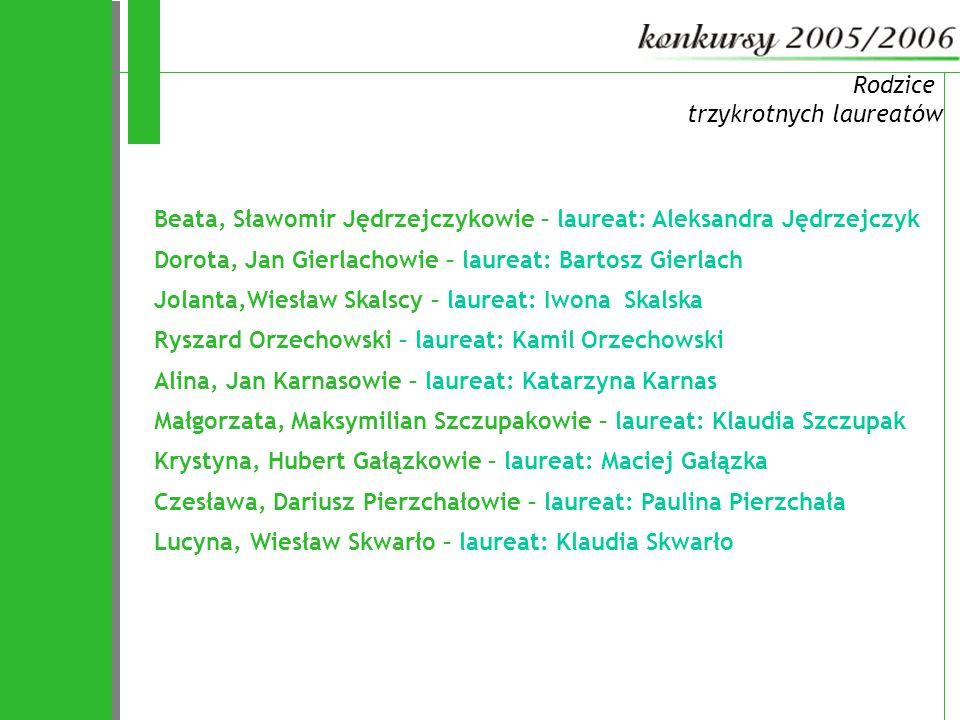 72 Rodzice trzykrotnych laureatów Beata, Sławomir Jędrzejczykowie – laureat: Aleksandra Jędrzejczyk Dorota, Jan Gierlachowie – laureat: Bartosz Gierla