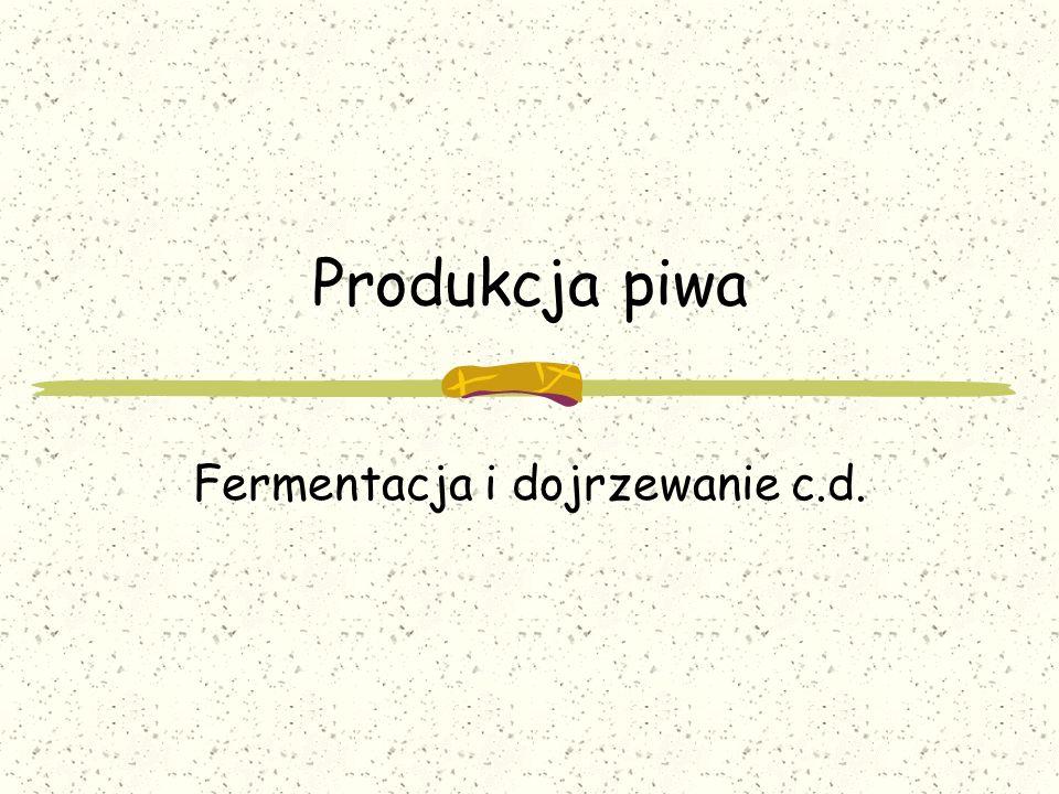 Prowadzenie fermentacji głównej (burzliwej) Nastawienie fermentacji Podnoszenie drożdży Dawka drożdży: 20-30mln komórek/ml 0,6-1l gęstwy na hl Temperatura nastawu 6-8°C (piwa dolnej fermentacji)