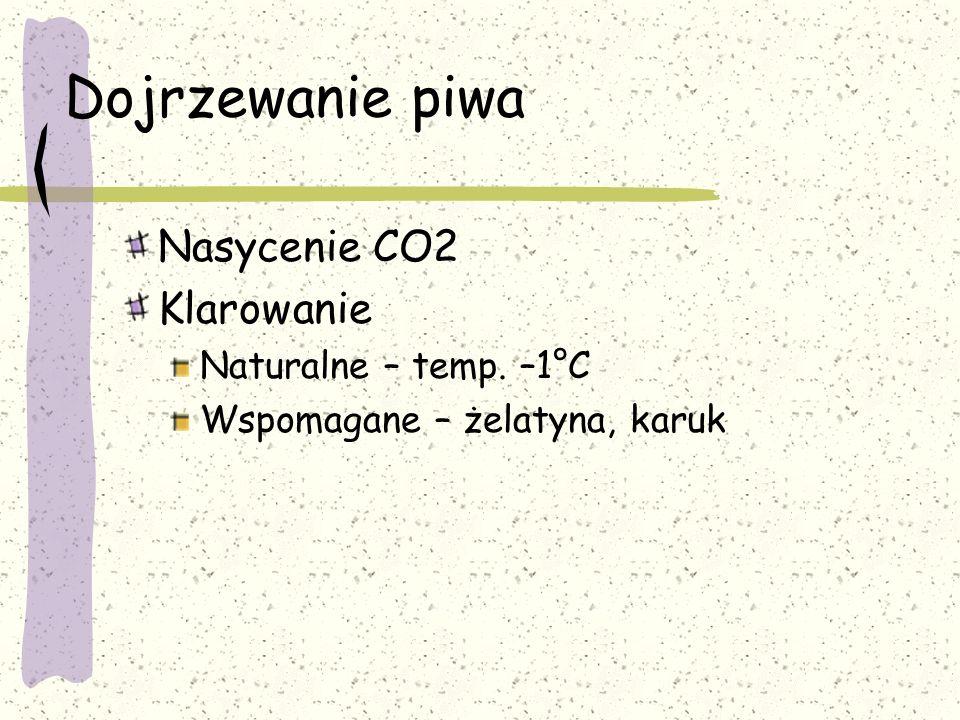 Dojrzewanie piwa Nasycenie CO2 Klarowanie Naturalne – temp. –1°C Wspomagane – żelatyna, karuk