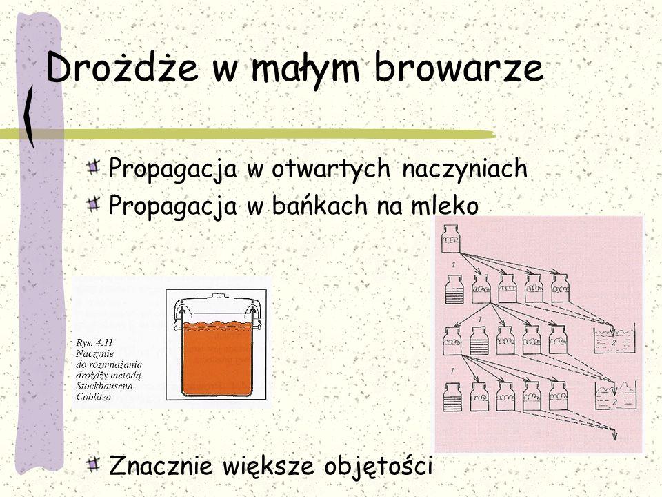 Drożdże w małym browarze Propagacja w otwartych naczyniach Propagacja w bańkach na mleko Znacznie większe objętości