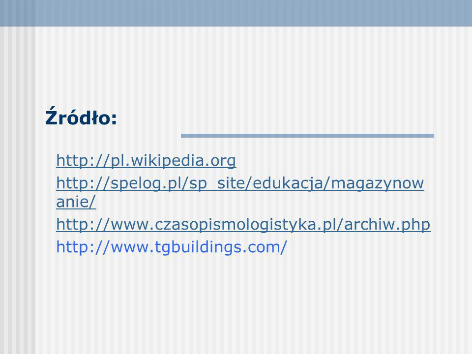 Źródło: http://pl.wikipedia.org http://spelog.pl/sp_site/edukacja/magazynow anie/ http://www.czasopismologistyka.pl/archiw.php http://www.tgbuildings.com/