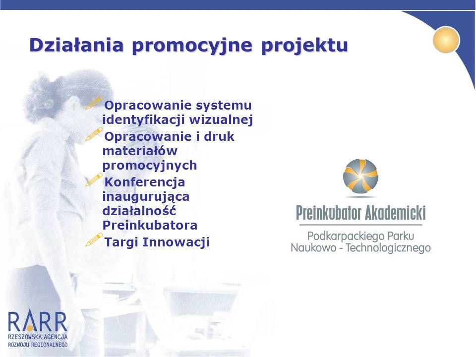 Działania promocyjne projektu ! Opracowanie systemu identyfikacji wizualnej ! Opracowanie i druk materiałów promocyjnych ! Konferencja inaugurująca dz