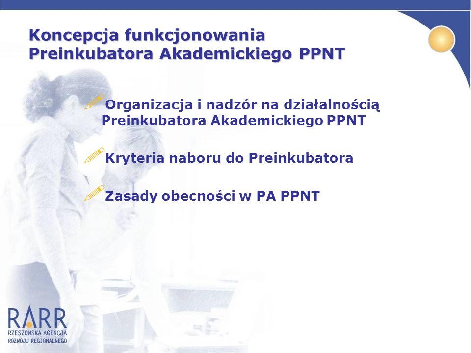 Koncepcja funkcjonowania Preinkubatora Akademickiego PPNT ! Organizacja i nadzór na działalnością Preinkubatora Akademickiego PPNT ! Kryteria naboru d