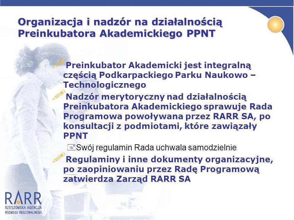 Organizacja i nadzór na działalnością Preinkubatora Akademickiego PPNT ! Preinkubator Akademicki jest integralną częścią Podkarpackiego Parku Naukowo