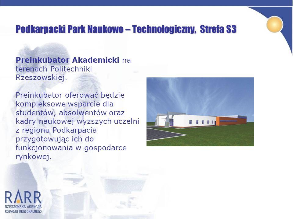 Podkarpacki Park Naukowo – Technologiczny, Strefa S3 Preinkubator Akademicki na terenach Politechniki Rzeszowskiej. Preinkubator oferować będzie kompl
